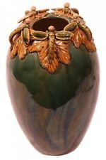 "Oriental Furnishings 11""H Ceramic Hand Carved Dragon Fly Vase"