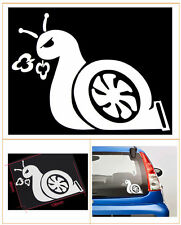 White Turbo Snail Sticker Vinyl Decal - Jdm Boost Euro Racing Drift Car Window