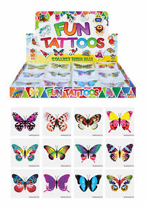 12 Butterfly Temporary Tattoos - Pinata Toy Loot/Party Bag Fillers Childrens/Kid