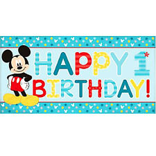 MICKEY MOUSE Fun to Be One JUMBO PLASTIC BANNER ~ Birthday Party Supplies Decor