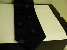 Gianni Versace Medusa / Hombre 100% Corbata de Seda Azul y Negro Bonito