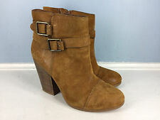 LUCKY BRAND Tan Brown Leather Ankle Boots Heel Career Casual 7.5