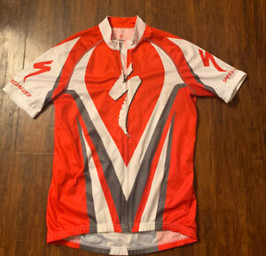 SPECIALIZED Short Sleeve Cycling Jersey Red Full Zip Bike Shirt Size M