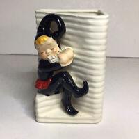 Elf Playing Harmonica Planter Vase 4 7/8 Inches Tall Ceramic Vintage