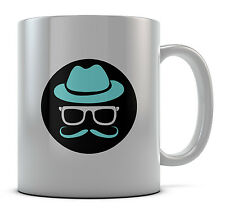 Hipster Hat Sunglasses Mustache Mug Cup Present Gift Coffee Birthday
