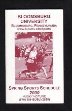 Bloomsburg Huskies--2000 Lacrosse/Spring Sports Pocket Schedule--AT&T