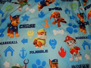 Disney PAW PATROL Puppy Dogs MICROFIBER Twin Flat Bed Sheet (Fabric)