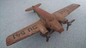 Vintage Clockwork Propeller Plane JU 541. Needs TLC. No Key or Box.