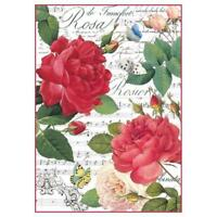 DFSA4305 Red Roses and Music Stamperia Rice Paper A4 Decoupage Mixed media