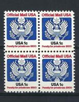 US 1983  Sc# O127 Official mail 1c block 4 MNH