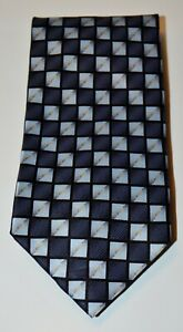 CROFT & BARROW Charcoal Black Blue Tan Square Print 100% Silk Handmade Neck Tie