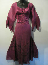 Burgundy Holiday Dress 2X 3X Plus Renaissance Pink Corset Lace Up Chest NWT 522