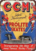 """CCM Prolite Hockey Skates Vintage Rustic Retro Metal Sign 8"""" x 12"""""""