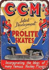 "CCM Prolite Hockey Skates Vintage Rustic Retro Tin Metal Sign 8"" x 12"""