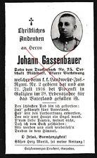 Nr 8734 Sterbebild deathcard KuK Landwehr IR 2 Linz 1916 Piocenki Galizien Polen