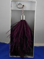 Michael Kors Wine Silver XL OSTRICH FEATHER Key Fob Bag Charm 32F7SF2K4F $78