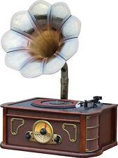 MAJESTIC TT-45 CD MP3 USB SD AX GIRADISCHI VINTAGE CON TROMBA DI GRAMMOFONO