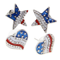 2 Pairs Patriotic Red White Blue American USA Flag Heart/Star Earrings
