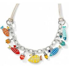 NWT Brighton SEA COVE Nautical Enamel Fish Charm Leather Necklace MSRP $108