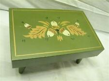Hand Painted Butcher Block Oak Acorn Floral Wooden Foot Stool Bench Rest Farm