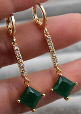18K Yellow Gold Filled - 1.8'' Emerald Jade Square Topaz Zircon Women Earrings