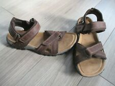 CLARKS BROWN LEATHER SHAPED FOOTBED SANDALS SIZE 9G