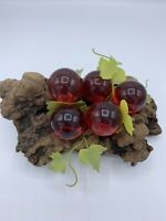 Vintage Mid Century Modern Red Lucite Grape Cluster on Driftwood