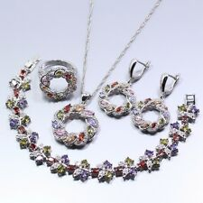 Marquise Multicolor Zircon 925Sterling Silver Set Earrings necklace ring bracelt