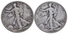 (2) 1943 & 1942-D Walking Liberty Half Dollars 90% Silver $1.00 Face *564