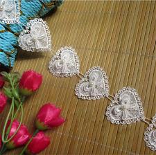 2 yard Pearl Heart Bow Lace Trim Wedding Bridal Ribbon Applique DIY Sewing Craft