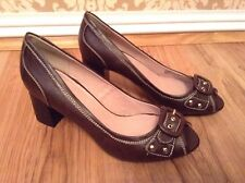 New🌹Next🌹Size 6 Chocolate Brown Court Peep Toe Buckle Shoes 39 EU Smart Office