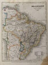 1851 BRAZIL ORIGINAL ANTIQUE  HAND COLOURED ANTIQUE MAP BY JOSEPH MEYER