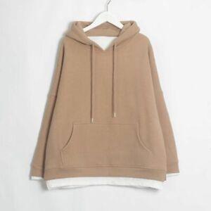 Women Sweatshirts Warm Velvet Long Sleeve Oversize Hoodies Tops Winter Pullover
