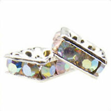 10pcs Silver-plated Rhinestone Squaredelle Beads *All Sizes* *Many Colours*