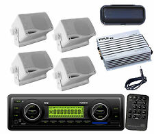 New Boat Car WB USB SD AM/FM Radio+ Antenna, 4 Blk Mini Speakers,400W Amp,Cover