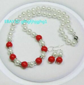 Natural 8mm White Shell Pearl / 10mm Red Coral Round Gems Necklac Earrings Set