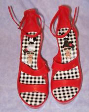 Red Hello Kitty Brown Girl Rubber Plastic Platform Wedge Heels Sz 8 Anime Goth