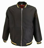 Mens Black Tartan Lined Classic Harrington Monkey Jacket