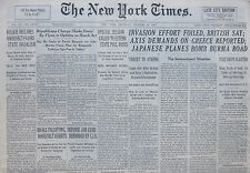 10-1940 WWII October 19 INVASION EFFORT FOILED BRITISH SAY AXIS DEMAND ON GREECE