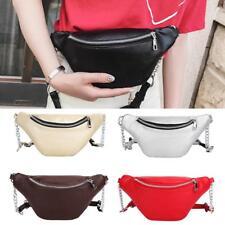 Zipper PU Leather Fanny Waist Pack Women Shoulder Chest Belly Band Belt Handbags