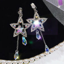 Star Crystal Rhinestone Ear Studs Drop Dangle Earrings Wedding Jewelry Gifts MC