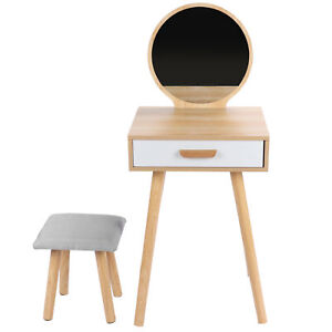 Dressing Table Wooden Vanity Table Set With Large Drawer Mirror Practical