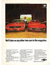 1969 CAMARO SS & CORVETTE STINGRAY VINTAGE COLOR MAGAZINE AD