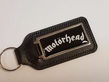 MOTORHEAD WHITE WRITING & BLACK BACKGROUND LEATHER KEYRING WITH DOMED STICKER
