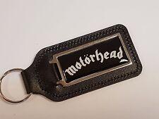 Motorhead Blanco y Negro de cuero fondo de escritura Llavero con cúpula de la etiqueta engomada