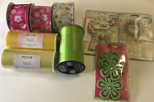 crafting supplies lots 9 Pieces Ribbons,tulle & Embosements