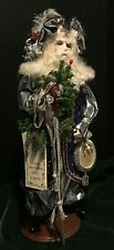 Porcelain Father Christmas Pere Noel Silver Ooak Doll Signed Judy Fresk, 1989
