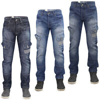 Mens Cargo Straight Leg Jeans Regular Fit Denim Pants Casual Trousers King Sizes