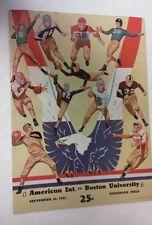 Vintage NCAA 1942 AMERICAN INTERNATIONAL Vs Boston U Football Program RARE