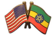 Ethiopia Friendship with US Flag Lapel Badge Pin